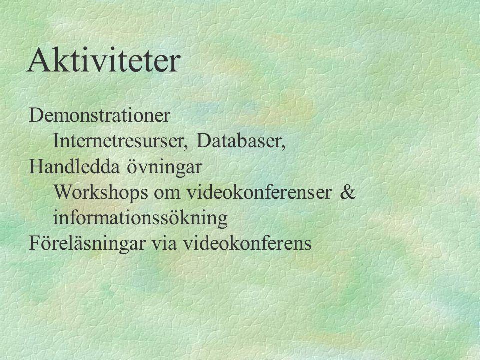 Aktiviteter Demonstrationer Internetresurser, Databaser, Handledda övningar Workshops om videokonferenser & informationssökning Föreläsningar via vide