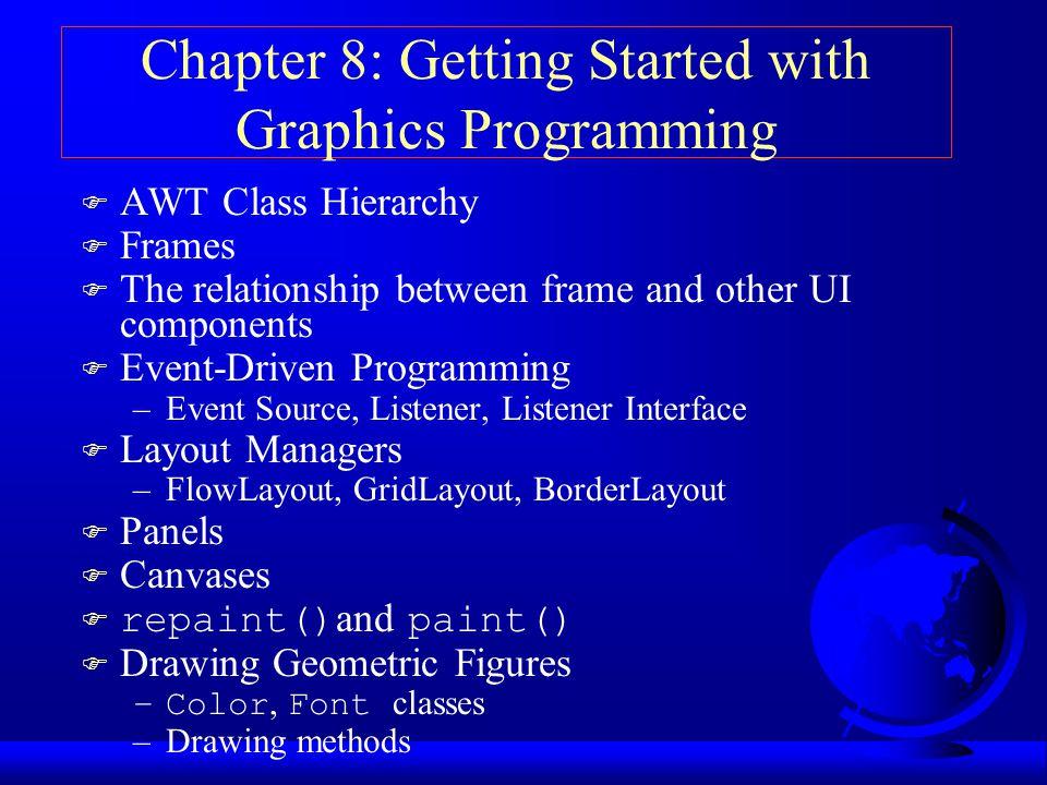 Några intressanta grafikanrop i Graphics  drawString(text,x,y) Skriver texten i angiven position  clearRect(x,y,bredd,höjd) Fyller angiven rektangel med bakgrundsfärgen.