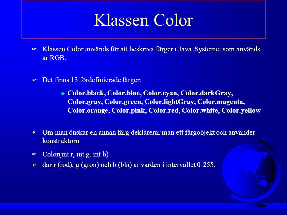 Klassen Color F Klassen Color används för att beskriva färger i Java. Systemet som används är RGB. F Det finns 13 fördefinierade färger: u Color.black