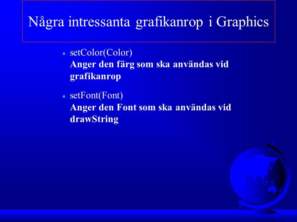Några intressanta grafikanrop i Graphics  setColor(Color) Anger den färg som ska användas vid grafikanrop  setFont(Font) Anger den Font som ska anvä