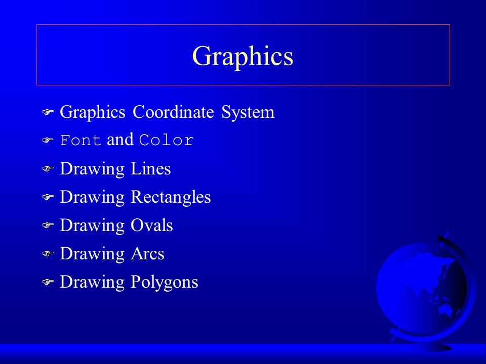 Drawing Ovals F drawOval(x, y, w, h); F fillOval(x, y, w, h);