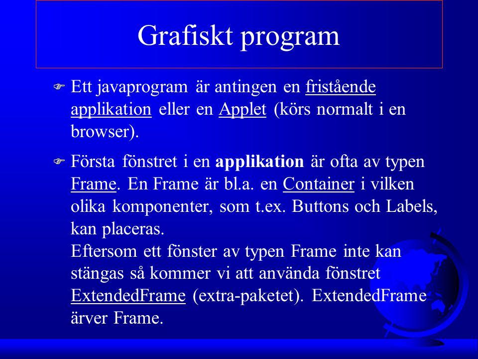 Applikation F class MittProgram extends Frame { F //Deklaration av instansvariabler, t.ex komponenter F //Inställningar av fönstret i konstruktorn F F public MittProgram() { F F } F F //paint-metoden anropas när fönstret behöver //ritas om F F public void paint(Graphics g) { F }
