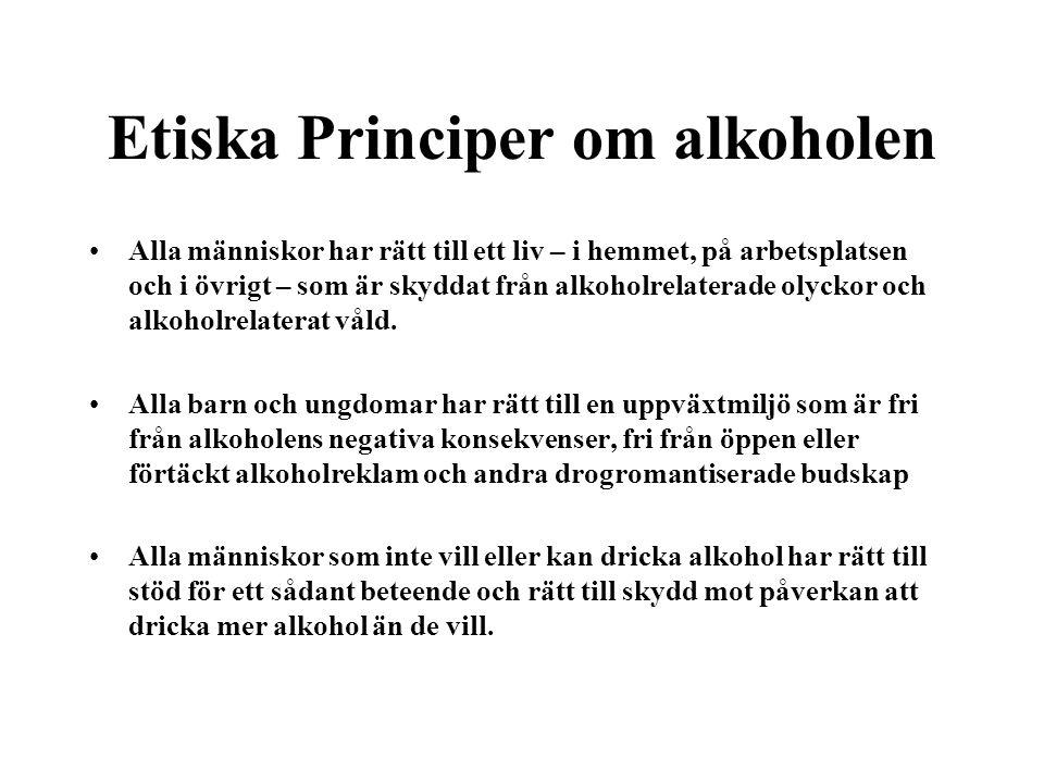 Etiska Principer om alkoholen Alla människor har rätt till ett liv – i hemmet, på arbetsplatsen och i övrigt – som är skyddat från alkoholrelaterade o