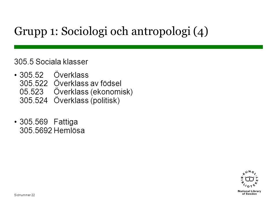 Sidnummer 22 Grupp 1: Sociologi och antropologi (4) 305.5 Sociala klasser 305.52 Överklass 305.522 Överklass av födsel 05.523 Överklass (ekonomisk) 305.524 Överklass (politisk) 305.569 Fattiga 305.5692 Hemlösa