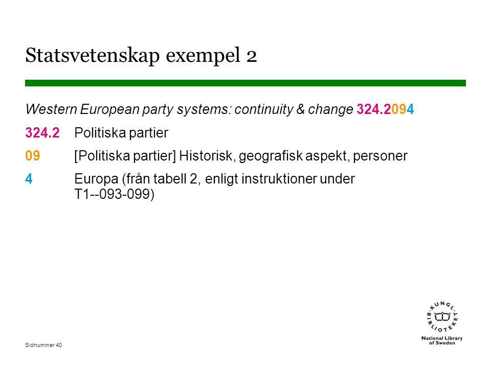 Sidnummer 40 Statsvetenskap exempel 2 Western European party systems: continuity & change 324.2094 324.2Politiska partier 09[Politiska partier] Historisk, geografisk aspekt, personer 4Europa (från tabell 2, enligt instruktioner under T1--093-099)