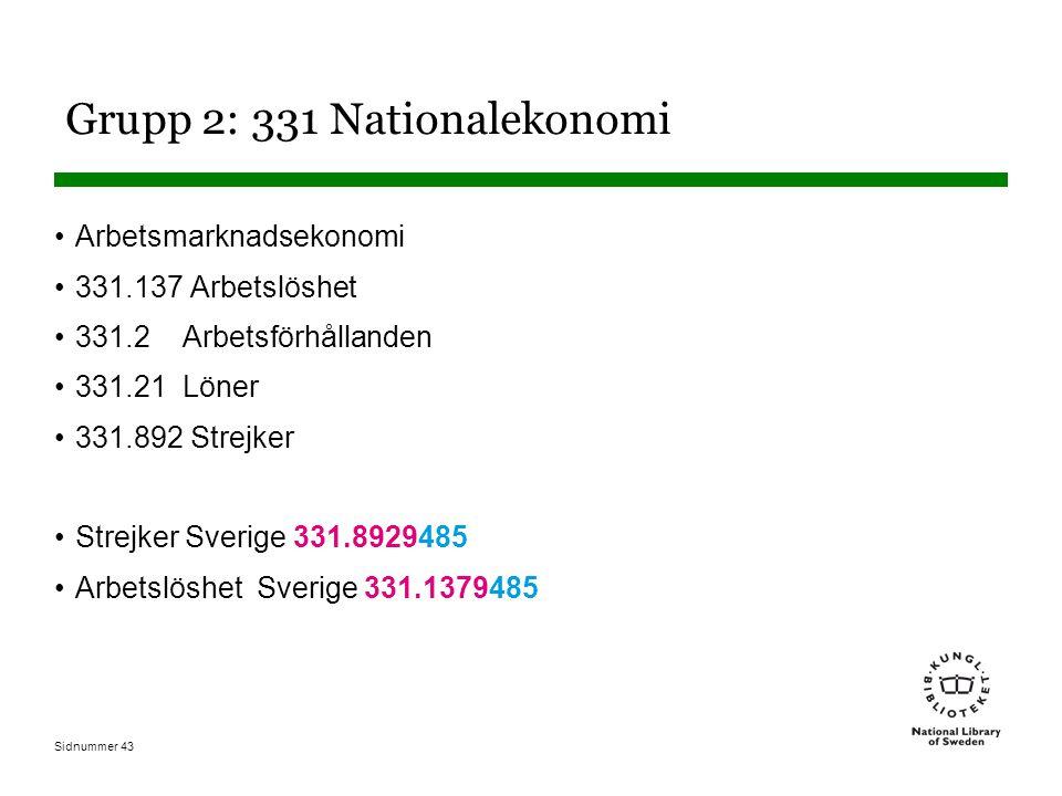 Sidnummer 43 Grupp 2: 331 Nationalekonomi Arbetsmarknadsekonomi 331.137 Arbetslöshet 331.2 Arbetsförhållanden 331.21 Löner 331.892 Strejker Strejker Sverige 331.8929485 Arbetslöshet Sverige 331.1379485