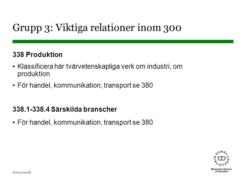 Sidnummer 50 Grupp 3: Viktiga relationer inom 300 338 Produktion Klassificera här tvärvetenskapliga verk om industri, om produktion För handel, kommunikation, transport se 380 338.1-338.4 Särskilda branscher För handel, kommunikation, transport se 380