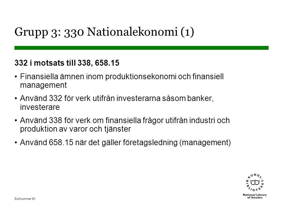 Sidnummer 51 Grupp 3: 330 Nationalekonomi (1) 332 i motsats till 338, 658.15 Finansiella ämnen inom produktionsekonomi och finansiell management Använd 332 för verk utifrån investerarna såsom banker, investerare Använd 338 för verk om finansiella frågor utifrån industri och produktion av varor och tjänster Använd 658.15 när det gäller företagsledning (management)