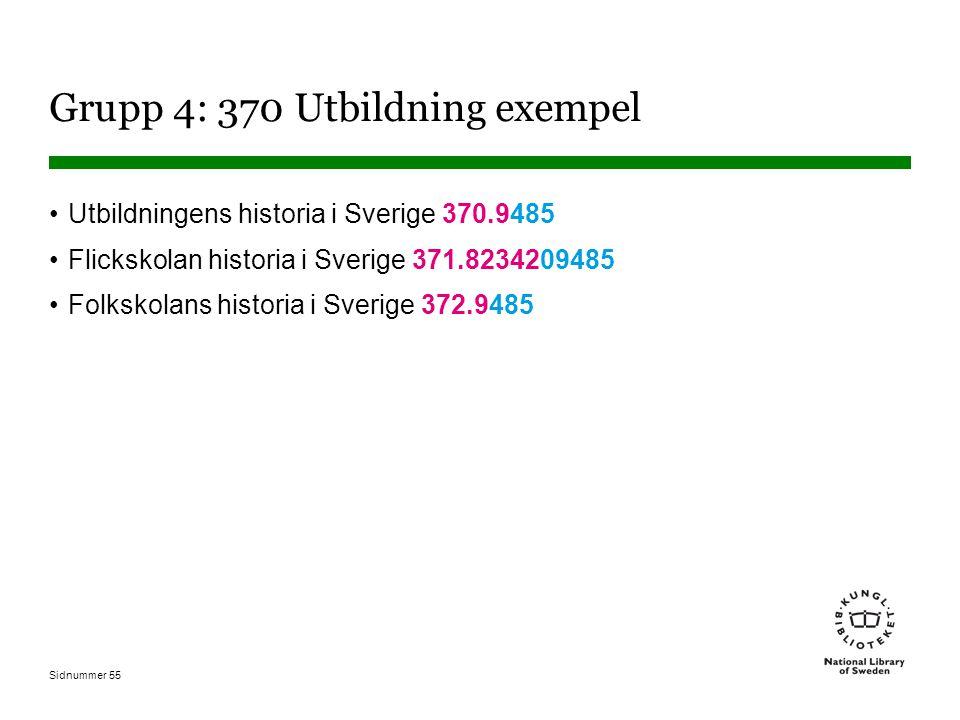 Sidnummer 55 Grupp 4: 370 Utbildning exempel Utbildningens historia i Sverige 370.9485 Flickskolan historia i Sverige 371.8234209485 Folkskolans historia i Sverige 372.9485