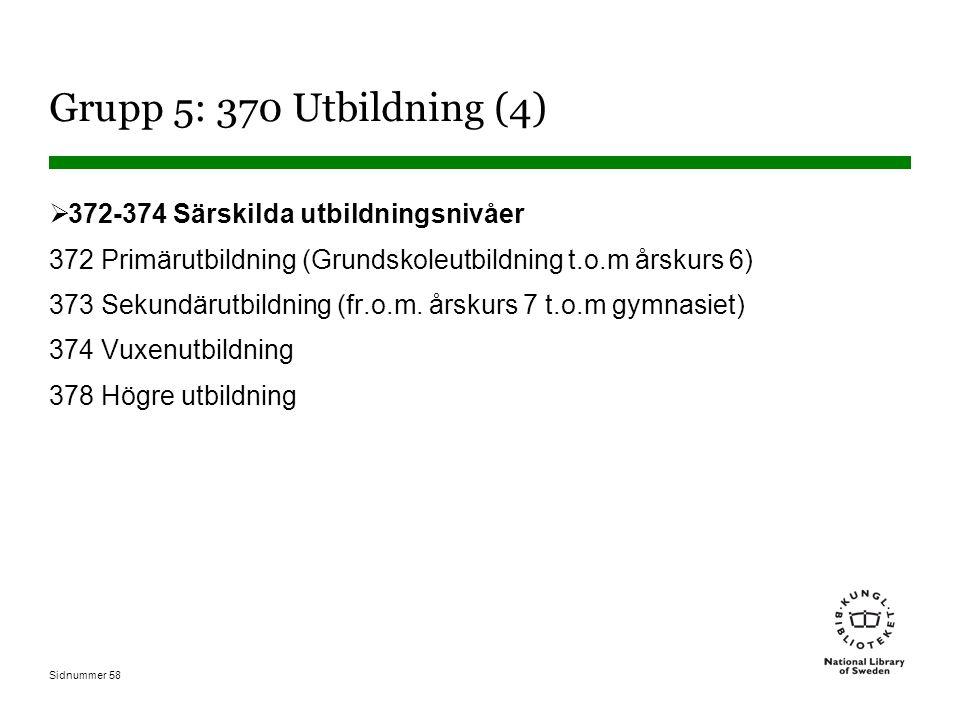 Sidnummer 58 Grupp 5: 370 Utbildning (4)  372-374 Särskilda utbildningsnivåer 372 Primärutbildning (Grundskoleutbildning t.o.m årskurs 6) 373 Sekundärutbildning (fr.o.m.