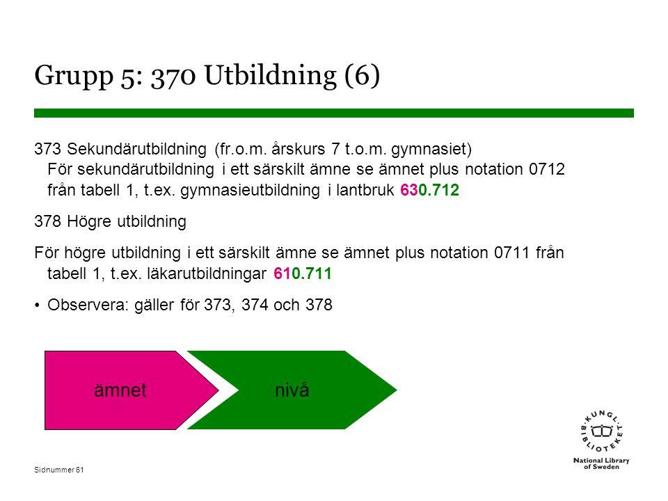 Sidnummer 61 Grupp 5: 370 Utbildning (6) 373 Sekundärutbildning (fr.o.m.