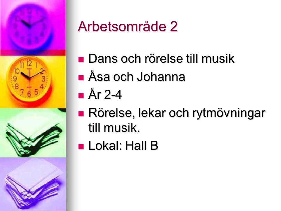 Arbetsområde 2 Dans och rörelse till musik Dans och rörelse till musik Åsa och Johanna Åsa och Johanna År 2-4 År 2-4 Rörelse, lekar och rytmövningar till musik.