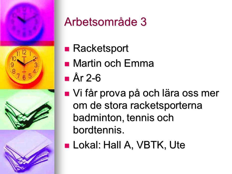 Arbetsområde 3 Racketsport Racketsport Martin och Emma Martin och Emma År 2-6 År 2-6 Vi får prova på och lära oss mer om de stora racketsporterna badminton, tennis och bordtennis.