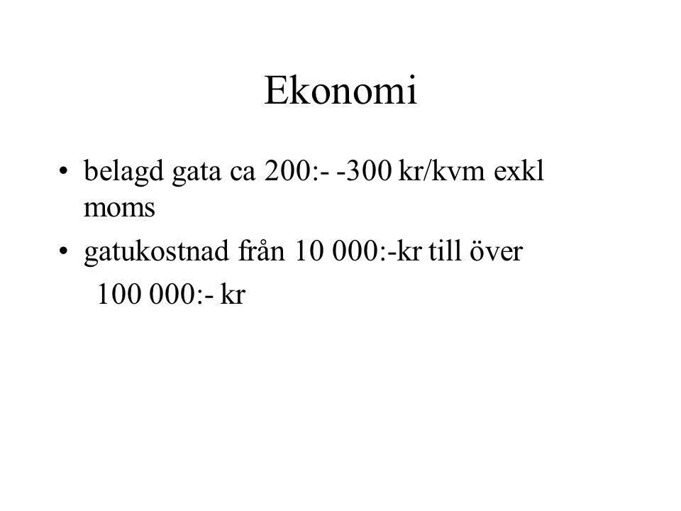 Ekonomi belagd gata ca 200:- -300 kr/kvm exkl moms gatukostnad från 10 000:-kr till över 100 000:- kr