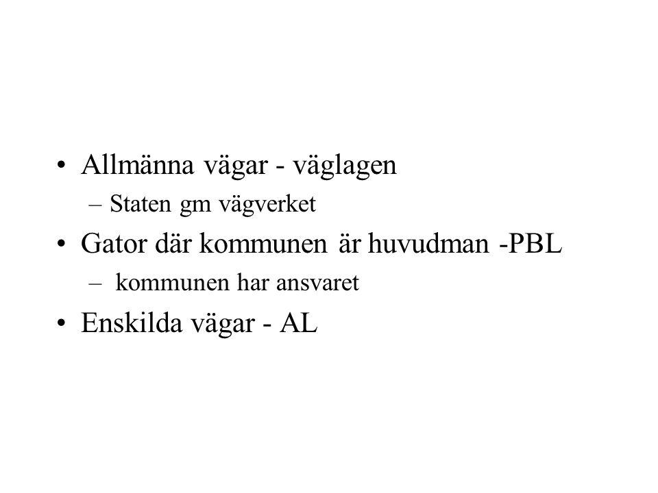 Allmänna vägar - väglagen –Staten gm vägverket Gator där kommunen är huvudman -PBL – kommunen har ansvaret Enskilda vägar - AL
