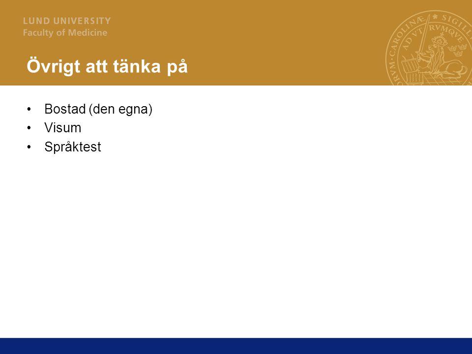 Övrigt att tänka på Bostad (den egna) Visum Språktest