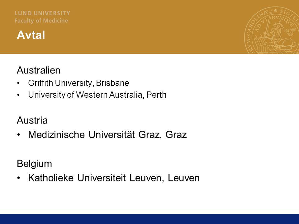Avtal Australien Griffith University, Brisbane University of Western Australia, Perth Austria Medizinische Universität Graz, Graz Belgium Katholieke Universiteit Leuven, Leuven