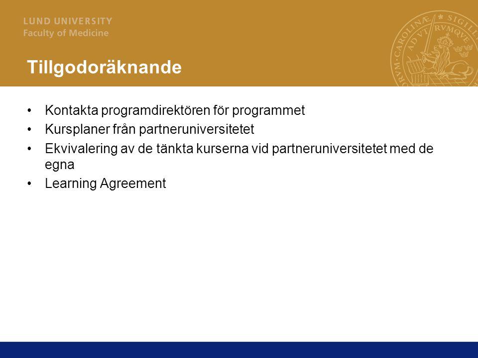 Tillgodoräknande Kontakta programdirektören för programmet Kursplaner från partneruniversitetet Ekvivalering av de tänkta kurserna vid partneruniversitetet med de egna Learning Agreement