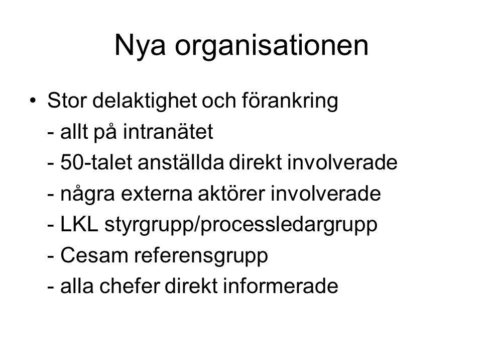 Nya organisationen Stor delaktighet och förankring - allt på intranätet - 50-talet anställda direkt involverade - några externa aktörer involverade - LKL styrgrupp/processledargrupp - Cesam referensgrupp - alla chefer direkt informerade