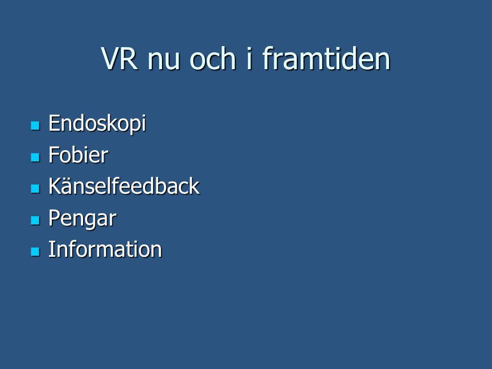 VR nu och i framtiden Endoskopi Endoskopi Fobier Fobier Känselfeedback Känselfeedback Pengar Pengar Information Information