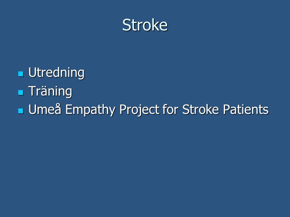 Stroke Utredning Utredning Träning Träning Umeå Empathy Project for Stroke Patients Umeå Empathy Project for Stroke Patients