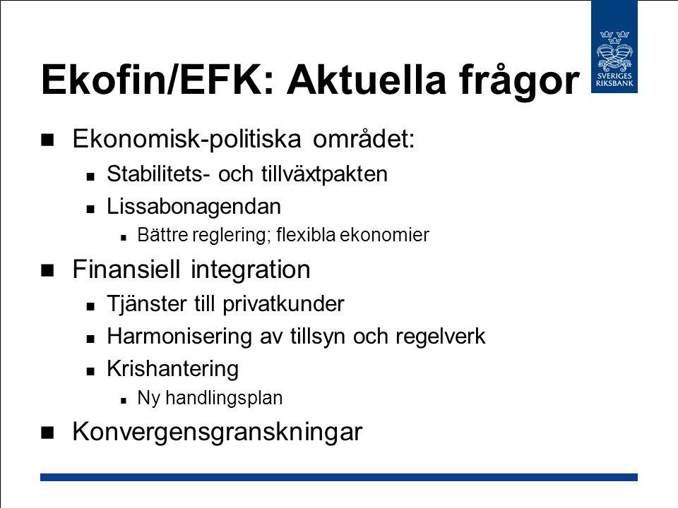 Ekofin/EFK: Aktuella frågor Ekonomisk-politiska området: Stabilitets- och tillväxtpakten Lissabonagendan Bättre reglering; flexibla ekonomier Finansiell integration Tjänster till privatkunder Harmonisering av tillsyn och regelverk Krishantering Ny handlingsplan Konvergensgranskningar