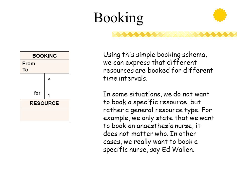 Booking From To BOOKING RESOURCE 1 * for Using this simple booking schema, we can express that different resources are booked for different time inter