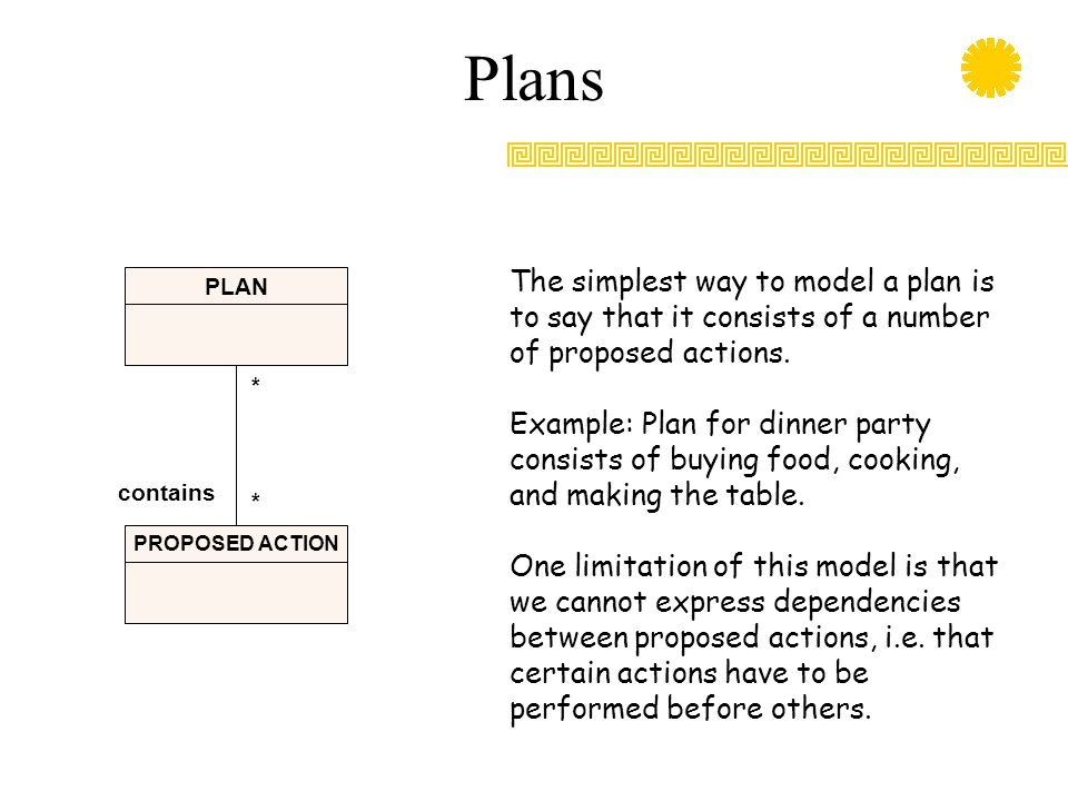 Plans PLAN PROPOSED ACTION * * contains The simplest way to model a plan is to say that it consists of a number of proposed actions. Example: Plan for