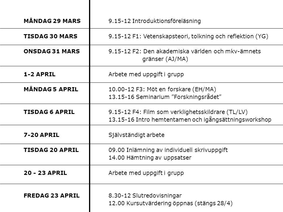 MÅNDAG 29 MARS 9.15-12 Introduktionsföreläsning TISDAG 30 MARS 9.15-12 F1: Vetenskapsteori, tolkning och reflektion (YG) ONSDAG 31 MARS9.15-12 F2: Den