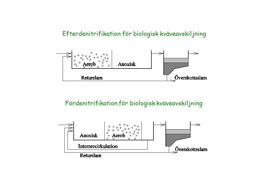 Efterdenitrifikation för biologisk kväveavskiljning Fördenitrifikation för biologisk kväveavskiljning