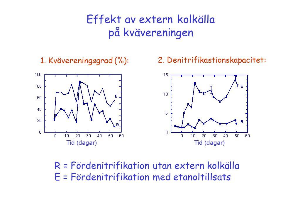 Effekt av extern kolkälla på kvävereningen 1. Kvävereningsgrad (%): 2. Denitrifikastionskapacitet: Tid (dagar) R = Fördenitrifikation utan extern kolk