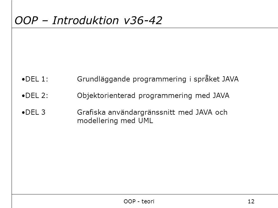 OOP - teori12 DEL 1: Grundläggande programmering i språket JAVA DEL 2: Objektorienterad programmering med JAVA DEL 3 Grafiska användargränssnitt med JAVA och modellering med UML OOP – Introduktion v36-42