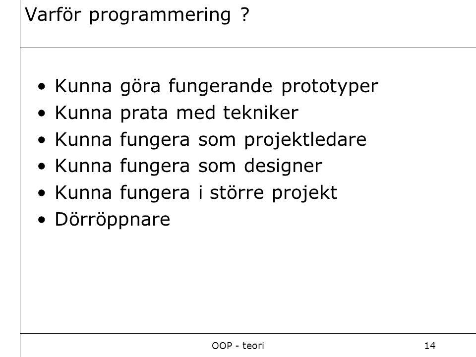 OOP - teori14 Varför programmering .