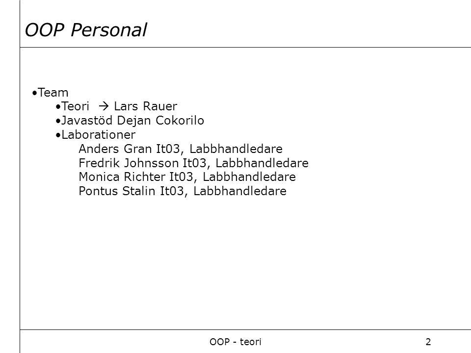OOP - teori2 Team Teori  Lars Rauer Javastöd Dejan Cokorilo Laborationer Anders Gran It03, Labbhandledare Fredrik Johnsson It03, Labbhandledare Monica Richter It03, Labbhandledare Pontus Stalin It03, Labbhandledare OOP Personal