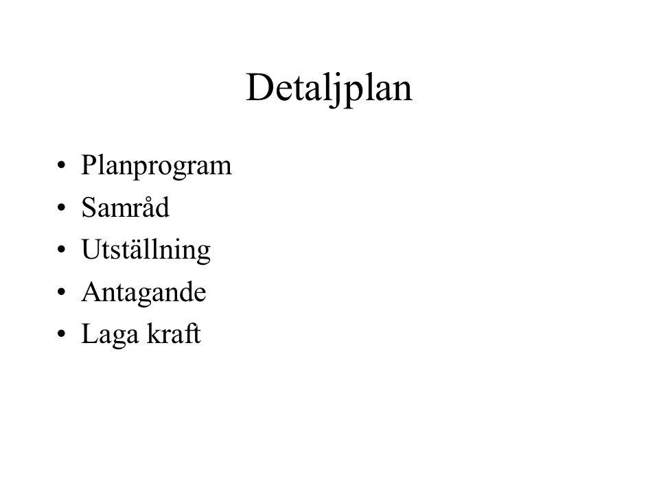 Detaljplan Planprogram Samråd Utställning Antagande Laga kraft