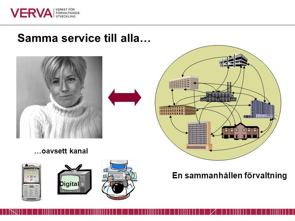 Samma service till alla… …oavsett kanal Digital En sammanhållen förvaltning