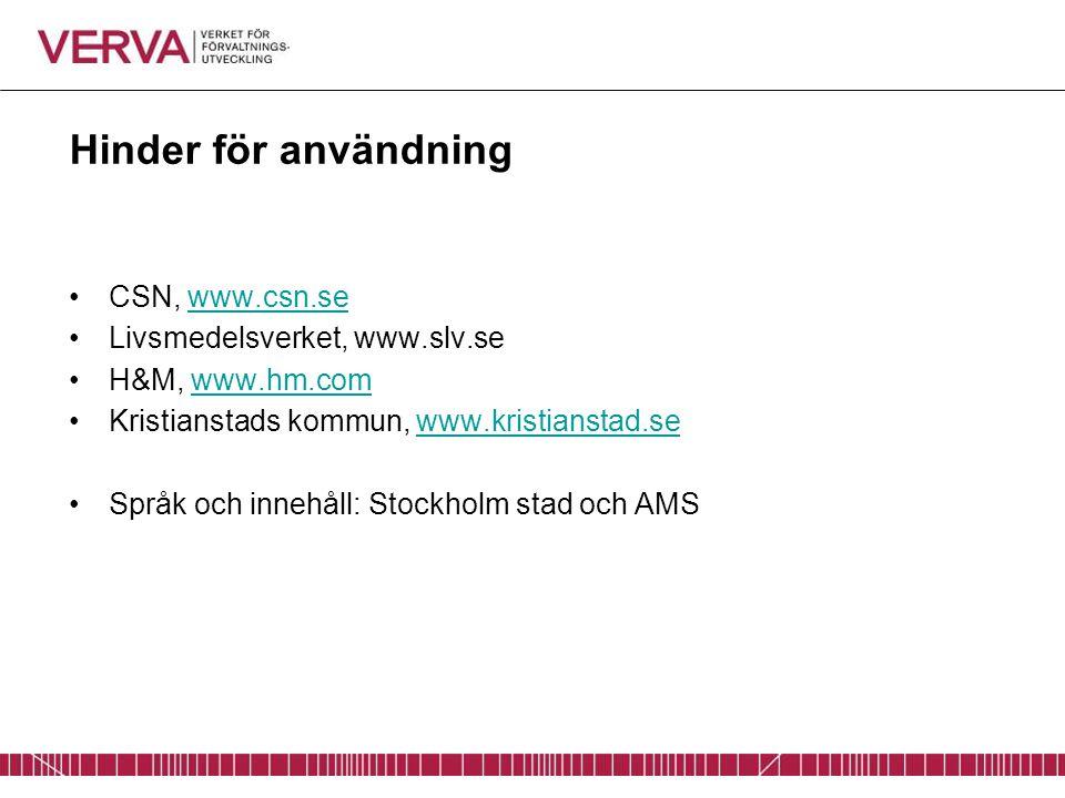 Hinder för användning CSN, www.csn.sewww.csn.se Livsmedelsverket, www.slv.se H&M, www.hm.comwww.hm.com Kristianstads kommun, www.kristianstad.sewww.kr