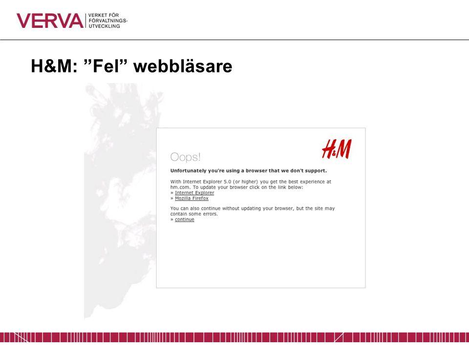 """H&M: """"Fel"""" webbläsare"""