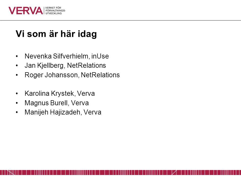 Vi som är här idag Nevenka Silfverhielm, inUse Jan Kjellberg, NetRelations Roger Johansson, NetRelations Karolina Krystek, Verva Magnus Burell, Verva