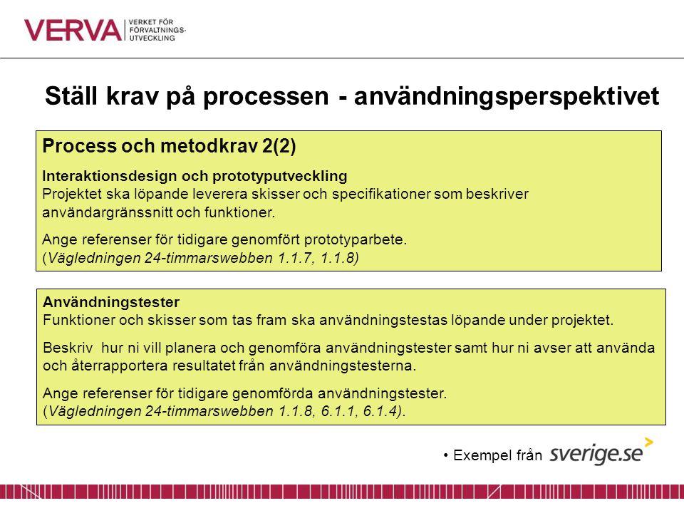Ställ krav på processen - användningsperspektivet Process och metodkrav 2(2) Interaktionsdesign och prototyputveckling Projektet ska löpande leverera