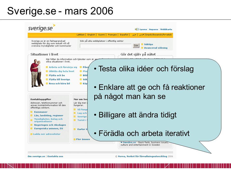 Sverige.se - mars 2006 Testa olika idéer och förslag Enklare att ge och få reaktioner på något man kan se Billigare att ändra tidigt Förädla och arbet