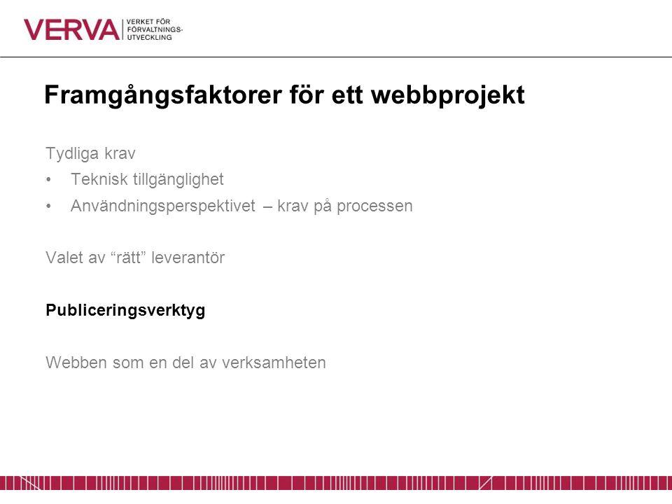 """Framgångsfaktorer för ett webbprojekt Tydliga krav Teknisk tillgänglighet Användningsperspektivet – krav på processen Valet av """"rätt"""" leverantör Publi"""