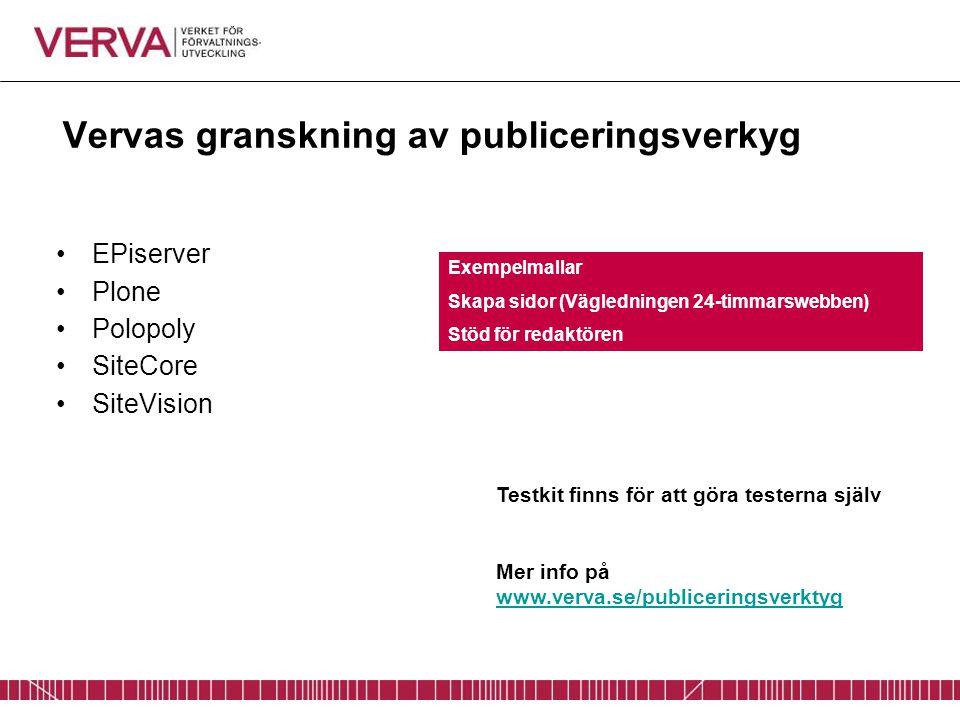 Vervas granskning av publiceringsverkyg EPiserver Plone Polopoly SiteCore SiteVision Testkit finns för att göra testerna själv Mer info på www.verva.s