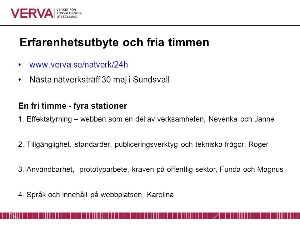 Erfarenhetsutbyte och fria timmen www.verva.se/natverk/24h Nästa nätverksträff 30 maj i Sundsvall En fri timme - fyra stationer 1. Effektstyrning – we