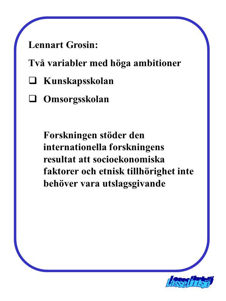 Lennart Grosin: Två variabler med höga ambitioner  Kunskapsskolan  Omsorgsskolan Forskningen stöder den internationella forskningens resultat att socioekonomiska faktorer och etnisk tillhörighet inte behöver vara utslagsgivande