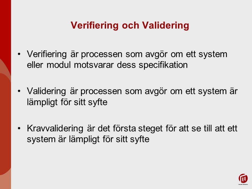 Validering av krav Syfte –För att kontrollera att vi har insamlat och dokumenterat de rätta kraven – Bygger vi rätt system? Metoder –Inspektioner –Checklistor –Kravklassificeringar –Prototyper –Simulationer
