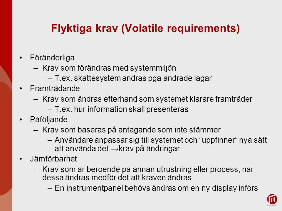 Flyktiga krav (Volatile requirements) Föränderliga –Krav som förändras med systemmiljön –T.ex. skattesystem ändras pga ändrade lagar Framträdande –Kra