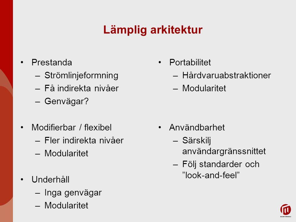 Lämplig arkitektur Prestanda –Strömlinjeformning –Få indirekta nivåer –Genvägar.