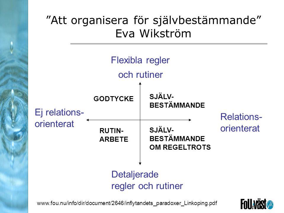 Att organisera för självbestämmande Eva Wikström Flexibla regler och rutiner GODTYCKE SJÄLV- BESTÄMMANDE RUTIN- ARBETE SJÄLV- BESTÄMMANDE OM REGELTROTS Detaljerade regler och rutiner Ej relations- orienterat Relations- orienterat www.fou.nu/info/dir/document/2646/inflytandets_paradoxer_Linkoping.pdf