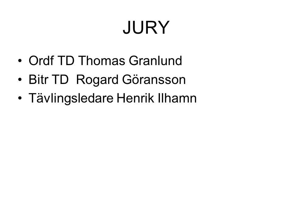 JURY Ordf TD Thomas Granlund Bitr TDRogard Göransson Tävlingsledare Henrik Ilhamn